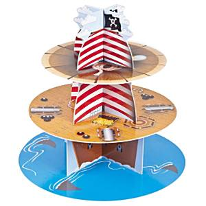 Pirate Ship Cup Cake 3 Tier Stand