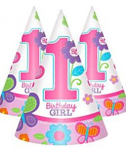 Sweet Girl 1st Birthday Party Cone Hats