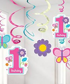 Sweet Girl 1st Birthday Party Hanging Swirl Decorations
