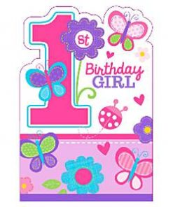 Sweet Girl 1st Birthday Party Invitations