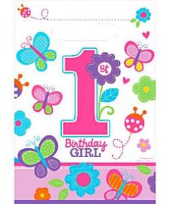 Sweet Girl 1st Birthday Party Plastic Loot Bags