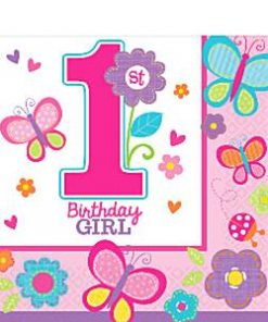 Sweet Girl 1st Birthday Party Paper Napkins