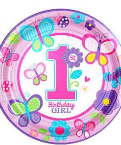 Sweet Girl 1st Birthday Party Paper Plates