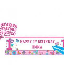 Sweet Girl 1st Birthday Party Giant Personalised Banner