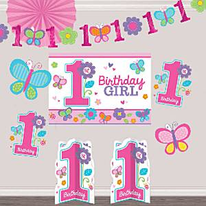 Sweet Girl 1st Birthday Party Room Decorating Kit