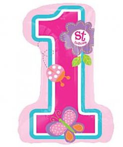 Sweet Girl 1st Birthday Party Supershape Foil Balloon