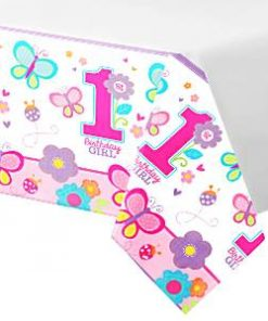 Sweet Girl 1st Birthday Party Plastic Tablecover