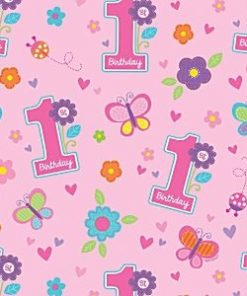 Sweet Girl 1st Birthday Party Wrapping Paper Roll