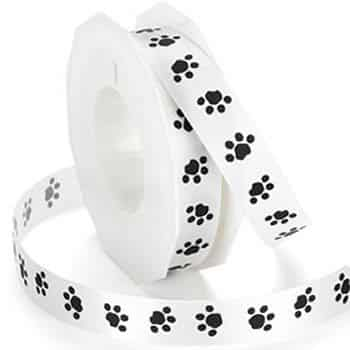 15mm Wide Paw Printed Ribbon