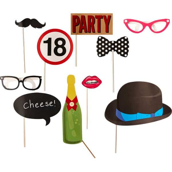 18th birthday selfie photo booth props. Black Bedroom Furniture Sets. Home Design Ideas