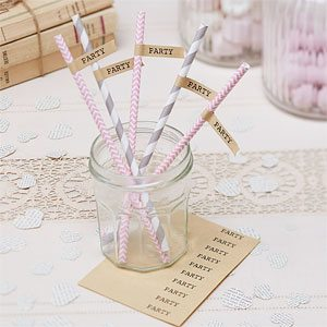 A Vintage Affair Wedding Brown Kraft Straw flags