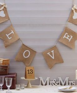 "A Vintage Affair Wedding Hessian ""Love"" Bunting"