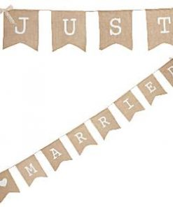 "A Vintage Affair Wedding Hessian ""Just Married"" Bunting"