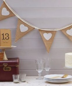 A Vintage Affair Wedding Hessian and Lace Bunting