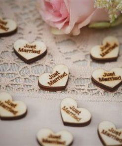 A Vintage Affair Wedding 'Just Married' Heart Wooden Confetti