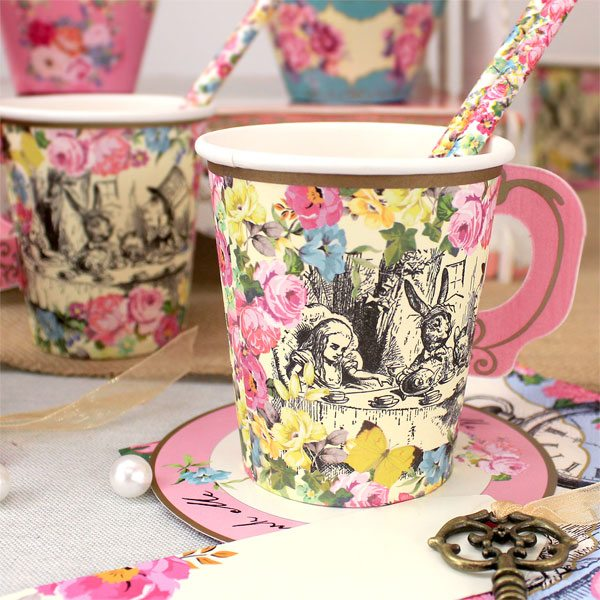 Alice in Wonderland Party Themed Paper Party Cups with Saucers