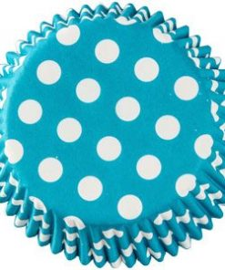 Caribbean Turquoise Blue Dot Cupcake Cases