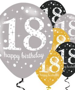 Sparkling Celebration Party Happy 18th Birthday Printed Latex Balloons
