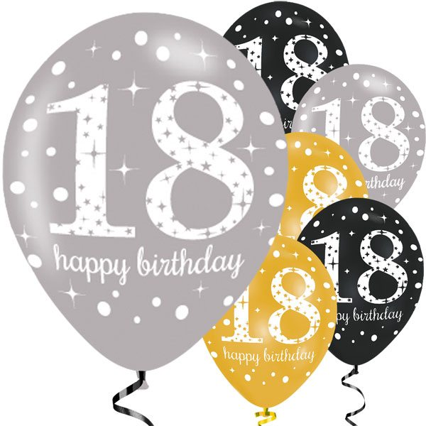 sparkling celebration party happy 18th birthday latex balloons rh funpartysupplies co uk Birthday Candles Clip Art Free Birthday Hat Clip Art Free
