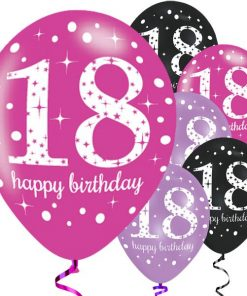 Pink Celebration Party Happy 18th Birthday Printed Latex Balloons