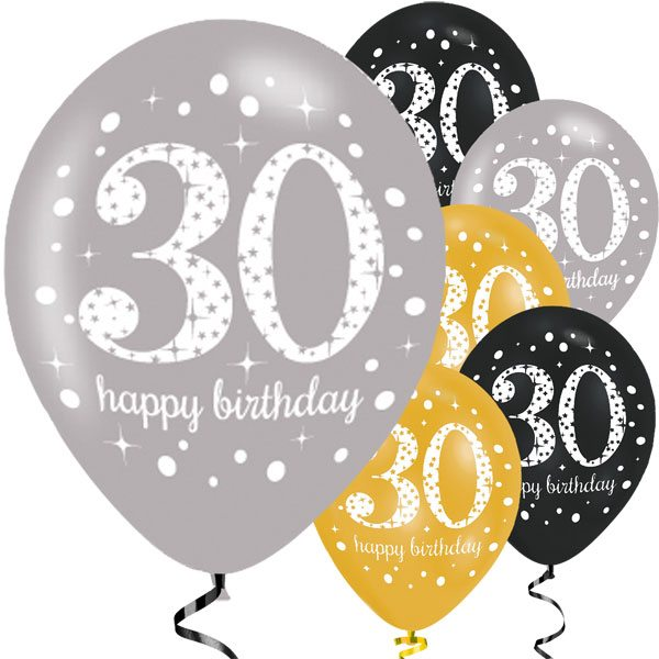 Sparkling Celebration Party Happy 30th Birthday Printed Latex Balloons