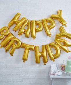 'Happy Birthday' Gold Balloon Bunting