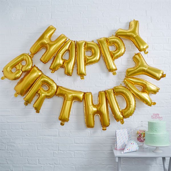 'Happy Birthday' Gold Balloon Bunting