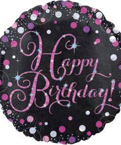 Pink Celebration Party Happy Birthday Sparkling Foil Balloon
