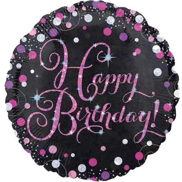 Pink Happy 18th Birthday Balloon: Pink Celebration Party Happy Birthday Sparkling Foil Balloon
