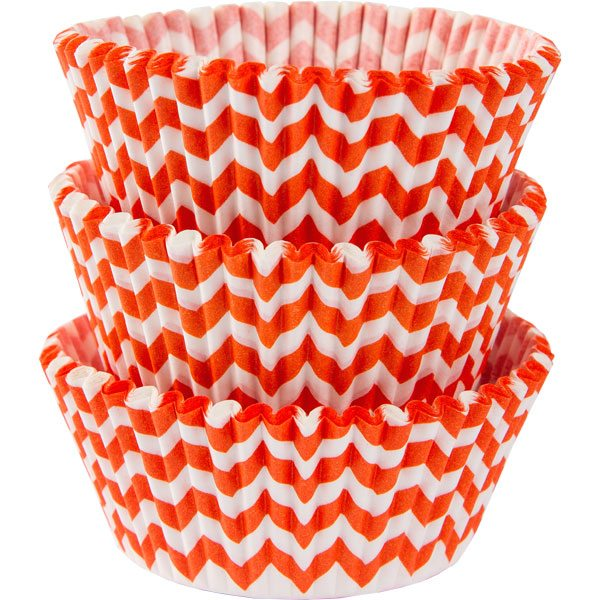 Orange Chevron Cupcake Cases