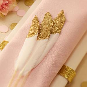 Wedding Pastel Perfection Gold Dipped Feathers