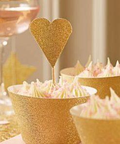Wedding Pastel Perfection Gold Heart Picks