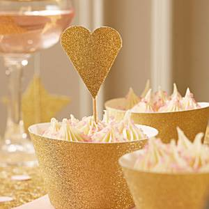 Wedding Pastel Perfection Gold Heart Picks