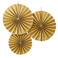Wedding Pastel Perfection Gold Paper Fan Decorations