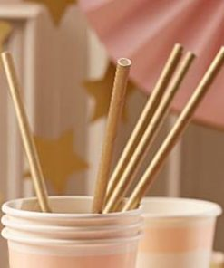 Wedding Pastel Perfection Gold Paper Straws