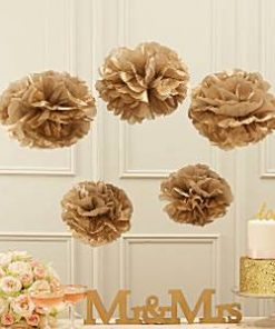 Wedding Pastel Perfection Gold Pom Pom Decorations