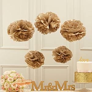 Wedding Pastel Perfection Gold Pom Pom Decorations