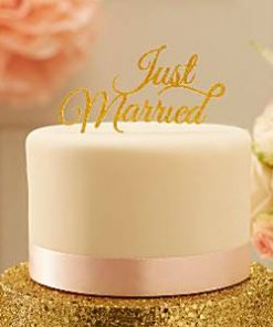 Wedding Pastel Perfection 'Just Married' Cake Topper