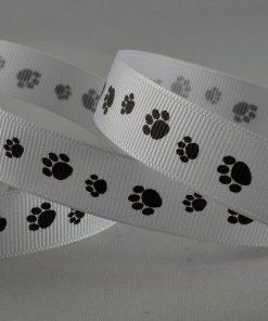 Paw Print White Ribbon