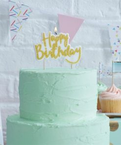 Pick & Mix Party Gold Glitter Happy Birthday Candle