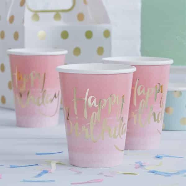 Pick & Mix Party Happy Birthday Ombre Paper Party Cups