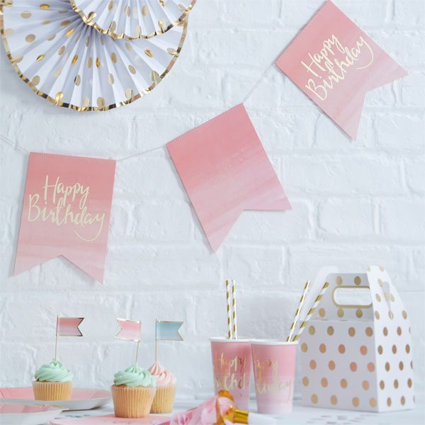 Pick & Mix Party Happy Birthday Ombre Flag Bunting