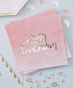 Pick & Mix Party Happy Birthday Ombre Paper Napkins