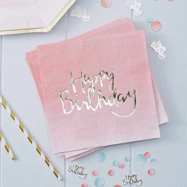 Pick & Mix Party Happy Birthday Ombre Paper Napkins