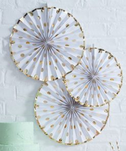 Pick & Mix Party White Metallic Polka Dot Paper Fan Decorations