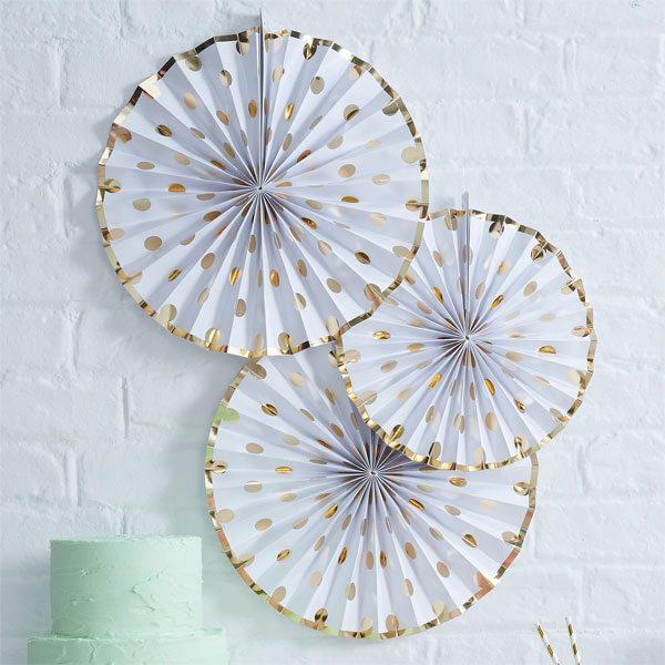 Pick & Mix Party White Metallic Polka Dot Paper Fan Decorations