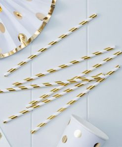 Pick & Mix Party Metallic Gold Stripe Straws