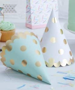 Pick & Mix Party Metallic Gold Polka Dot Party Cone Hats