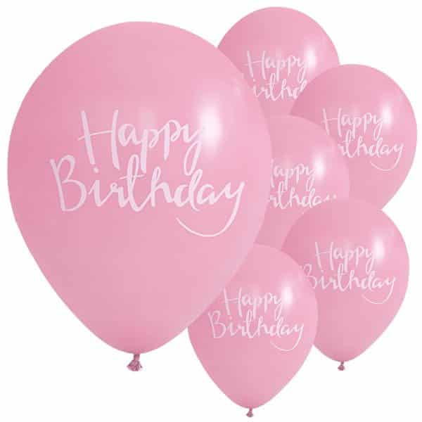 Pick & Mix Party Happy Birthday Pink Printed Latex Balloons