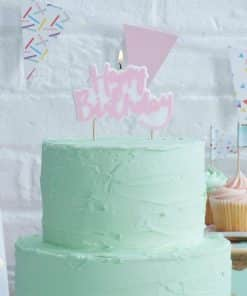 Pick & Mix Party Pink Happy Birthday Candle